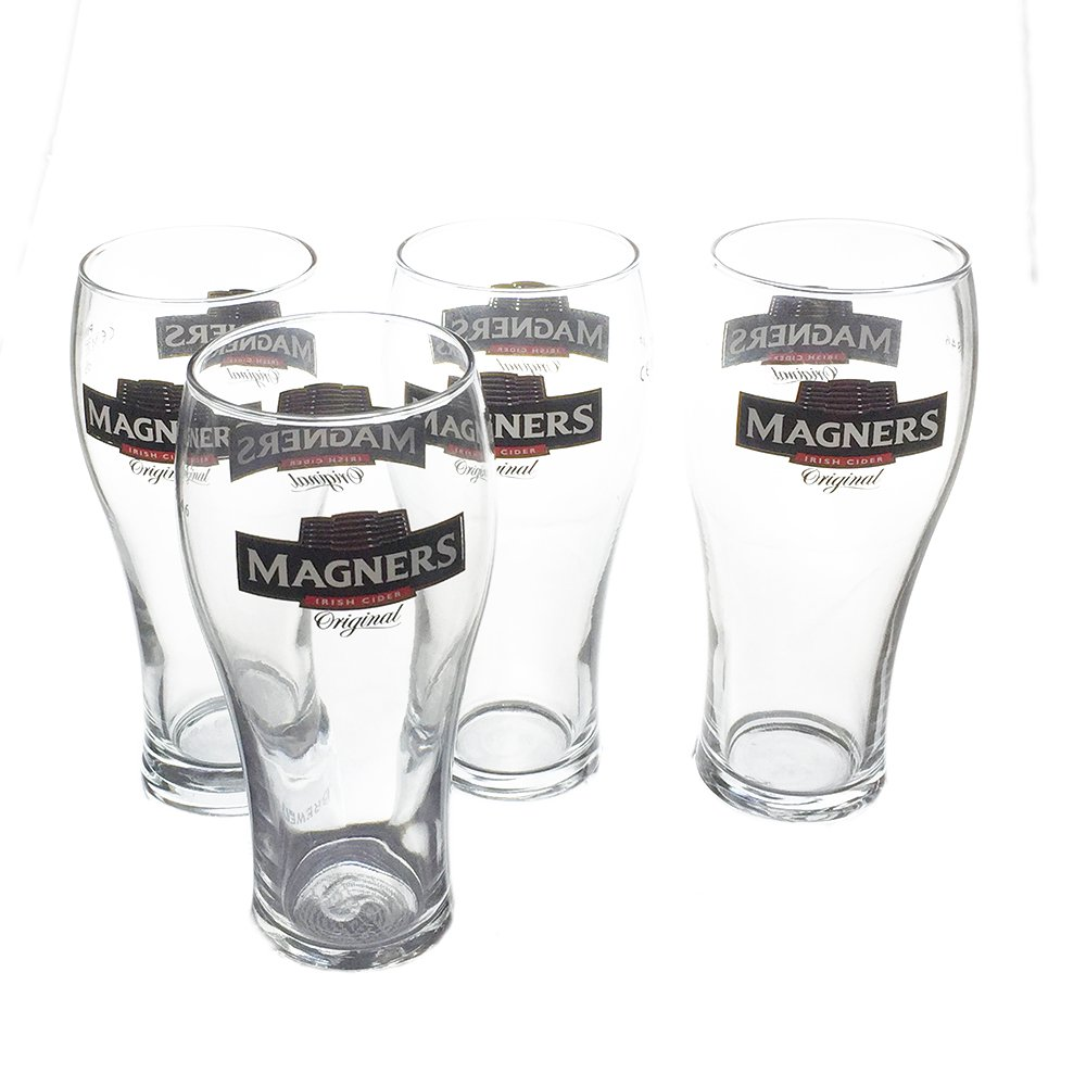 Set of 4 One Pint Conical Glass Government Stamped