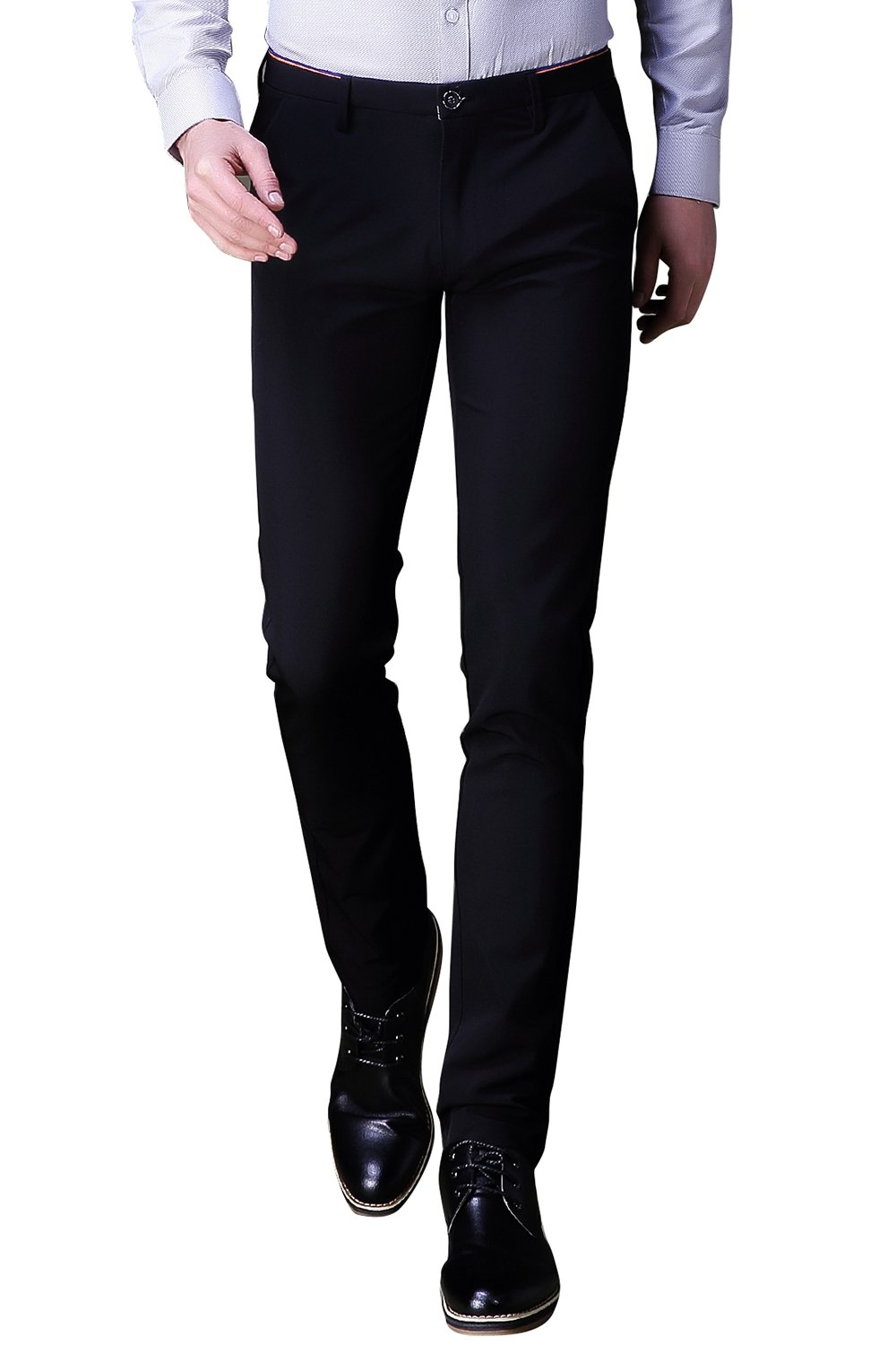 INFLATION Mens Wrinkle-Free Casual Pants Slim-Tapered Stretch Dress Pants,Flat Front Suit Pants Black by INFLATION