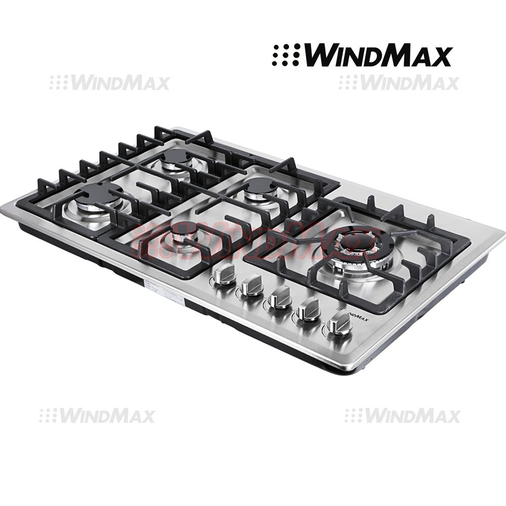 Ships From CA, USA 34'' Stainless Steel Circular Frame 5 Burners Stove NG/LPG Gas Cooktops Cooker