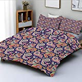 Duplex Print Duvet Cover Set Twin Size,60s and 70s Hippie Themed Motives with Geometrical and Floral Design ImageDecorative 3 Piece Bedding Set with 2 Pillow Sham,Purple,Best Gift For Kids & Adult
