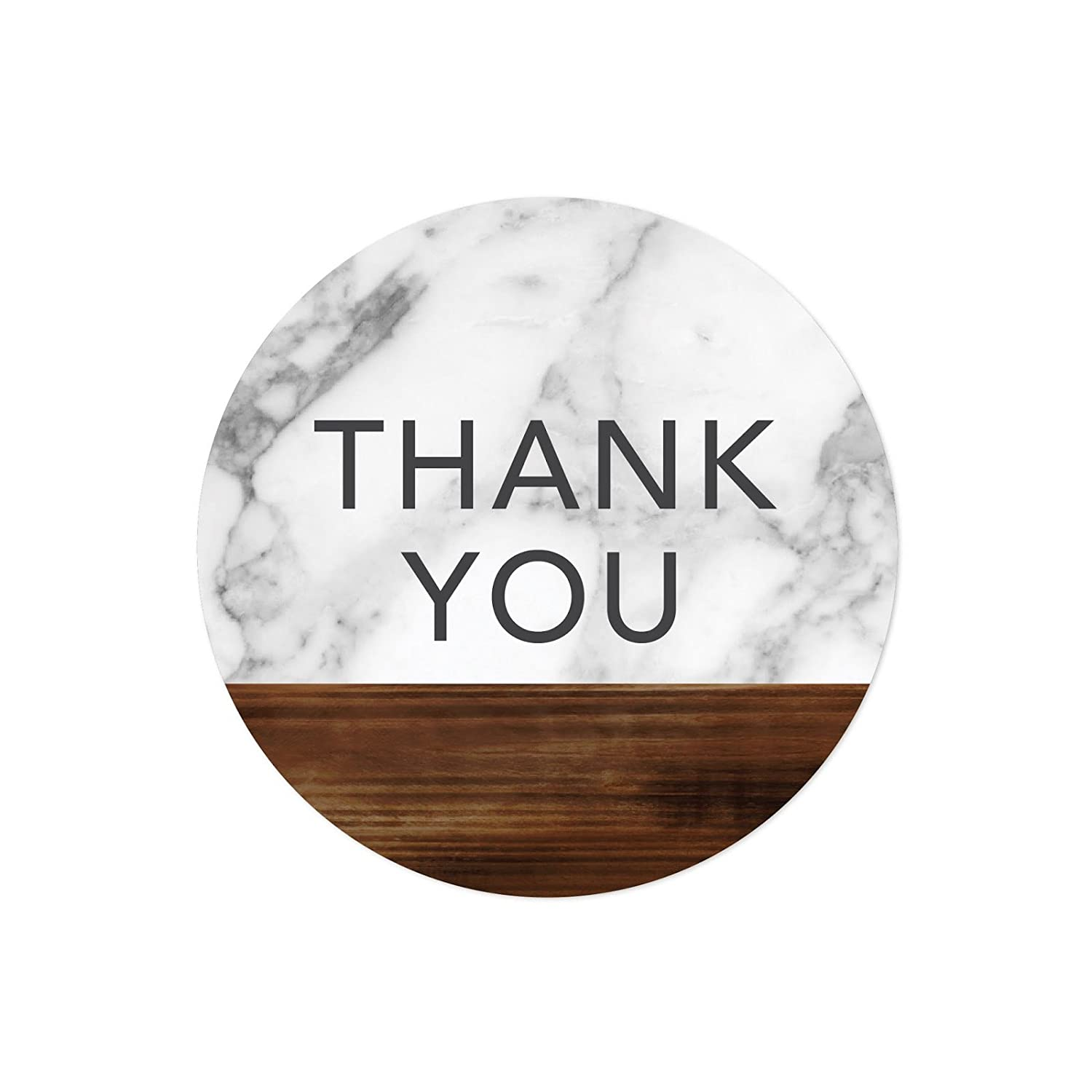 Amazon com andaz press round 2 inch circle label stickers marble and dark rustic wood thank you 40 pack party favor envelope stationary seals colored