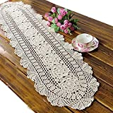 Product review for Ustide Rustic Floral Table Runners Oval Handmade Crochet Table Cover Beige Cotton Table Runner Lace Tablecloth 11inchesX47inches