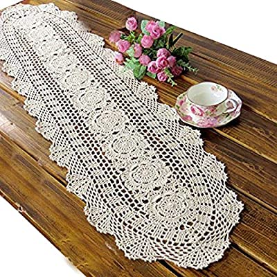 "USTIDE Floral Hand Crochet Table Runner Doily Beige Lace Table Doilies Cotton Table Placemats Oval Table Runners, 11.8""x23.6"" - Material:cotton,high-grade fabrics. Size:Oval table cloth.11.81inchesX23.62inches(30cmX60cm). Crochet, handmade process, really delicate and pretty - table-runners, kitchen-dining-room-table-linens, kitchen-dining-room - 61TEVMJYbEL. SS400  -"