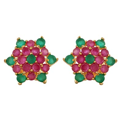 7c229410e40 Buy Beautiful Ruby Emerald Stud Earring Online at Low Prices in India