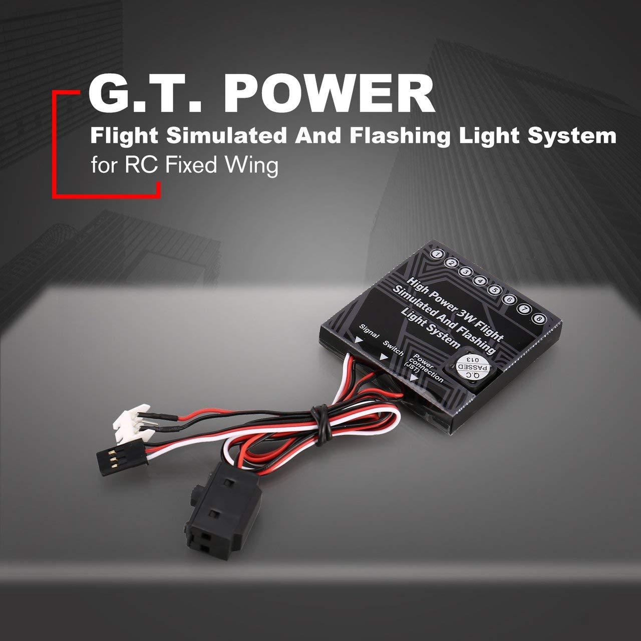 fITtprintse GT Power High Power 3W Flight Simulato Sistema di luci Lampeggianti con luci per aeromobili a Scatola di Controllo a LED per Ala Fissa RC