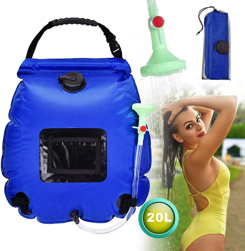 nadar en la playa viajar al aire libre bolsa de ducha para acampar 20L con manguera extra/íble y cabezal de ducha conmutable de encendido y apagado para acampar Bolsa de ducha solar para acampar