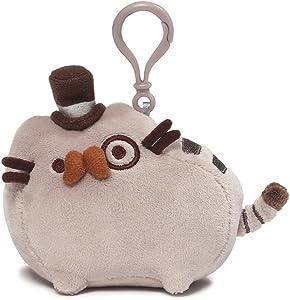 "GUND Pusheen Fancy Cat Plush Stuffed Animal Backpack Clip, Gray, 4.5"""