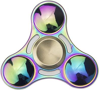 Mano Fidget Spinner Multicolor Multicolor Rainbow, 8 Minutos Deutsche Almacén spinnere Metal, Dedos Tip Gyro EDC Tri Spinner (Redondas): Amazon.es: Juguetes y juegos