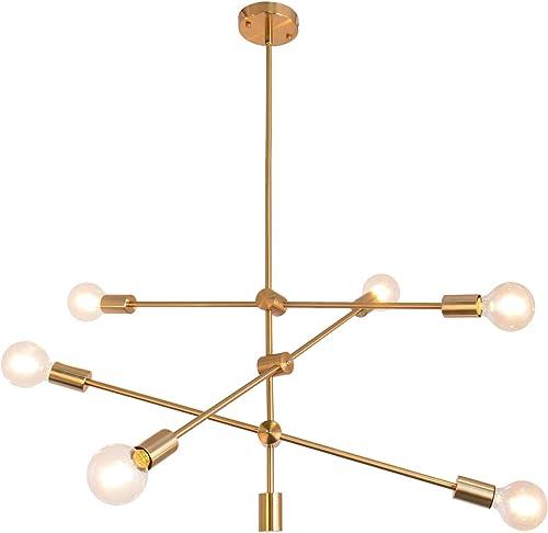 Sputnik Chandelier 6 Lights Modern Pendant Lighting Ceiling Light Fixture, Brass