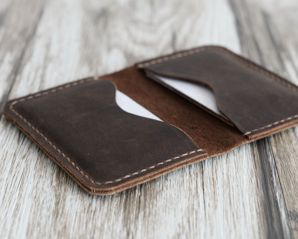 Men's Handmade Slim Leather Wallet Credit Card Holder Slim Wallet Italy oiled Leather (Hold 30 pics of cards)(Distressed Brown)110 by EXTRA STUDIO