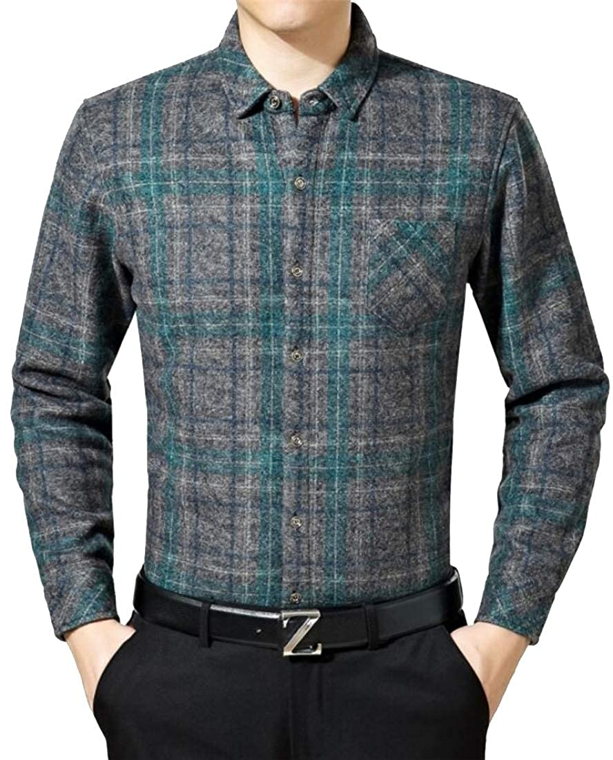Teapolity Men Long Sleeve with Velvet Warm Plaid Wool-Blend Button Down Shirts