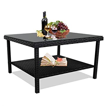 Leaptime Patio Side Table Black Wicker Big Table For Tea And Coffee Tempered Glass Top Match Patio Sofa