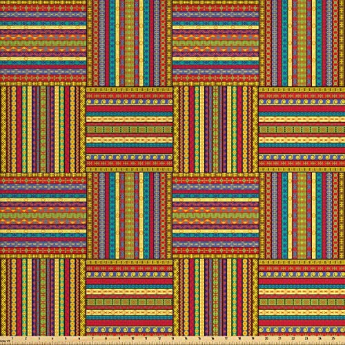Ambesonne African Fabric by The Yard Borders Pattern Old Fashioned Culture Theme Colorful Print Decorative Fabric for Upholstery and Home Accents 2 Yards Yellow Red