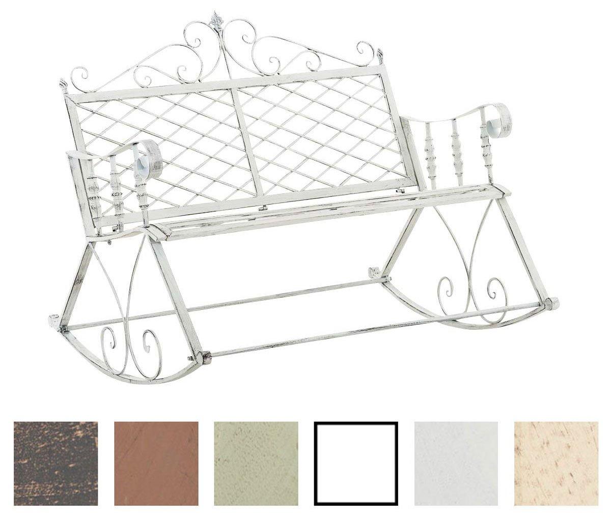 CLP Eisen Schaukel Bank ASHVINS, Gartenbank 2 Sitzer, Landhaus Stil, Design  Nostalgisch Antik Antik Weiß Online Kaufen