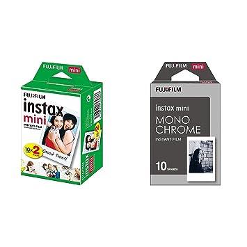 Fujifilm Instax Mini Brillo - Película fotográfica instantánea, 4 x 10 hojas, color blanco + Fujifilm Instax mini Monochrome: Amazon.es: Electrónica
