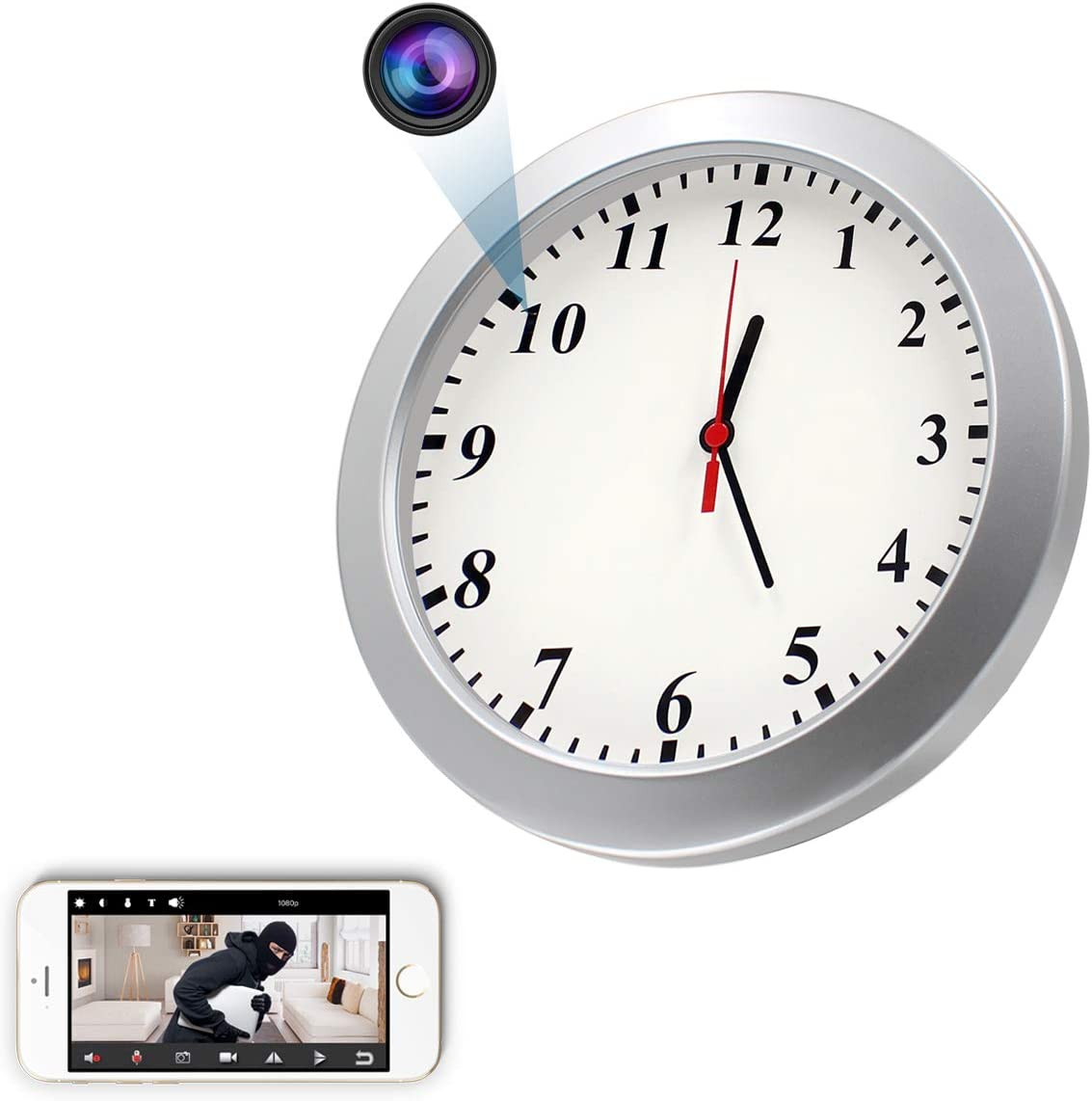 Spy WiFi Wall Clock Camera, CAMXSW HD 1080P Wireless Hidden Camera Alarm Clock for Home Security Nanny Cam Support iOS/Android/PC Remote Real-time Video and Motion Detection Alarm