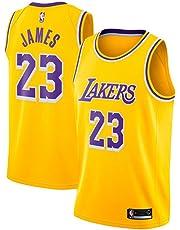 Maglia da Uomo, NBA #23 Lebron James Lakers Retro, Maglia Vintage da Giocatore di Basket, Ricamo Traspirante e Resistente all'Usura T-Shirt da Uomo