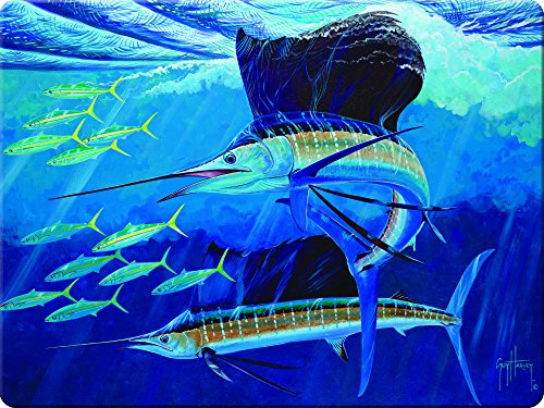 Rivers Edge Sailfish Glass Cutting Board-Guy Harvey ()
