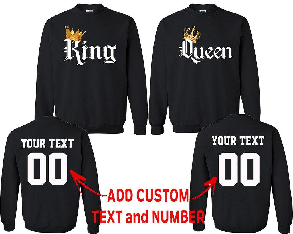 King Queen Color Pattern Customized Text Name Design Couple Crewneck Size Men M Women XL