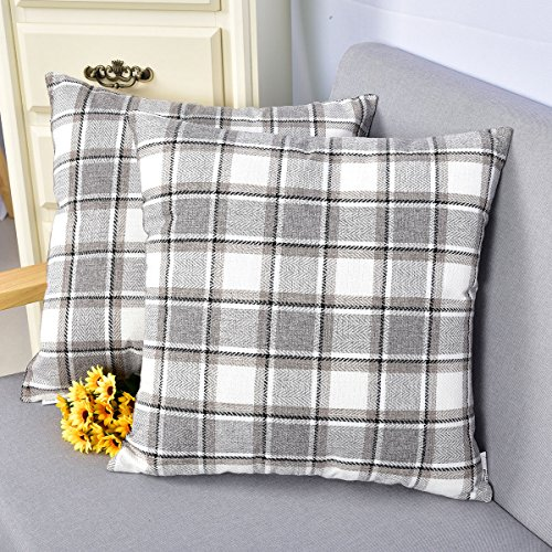 Natus Weaver Striped Throw Cushion Faux Linen Home Decorative Hand Made Pillow Case Cushion Cover For Naps , 18 x 18 inch, Light Grey , 2 Pieces ()