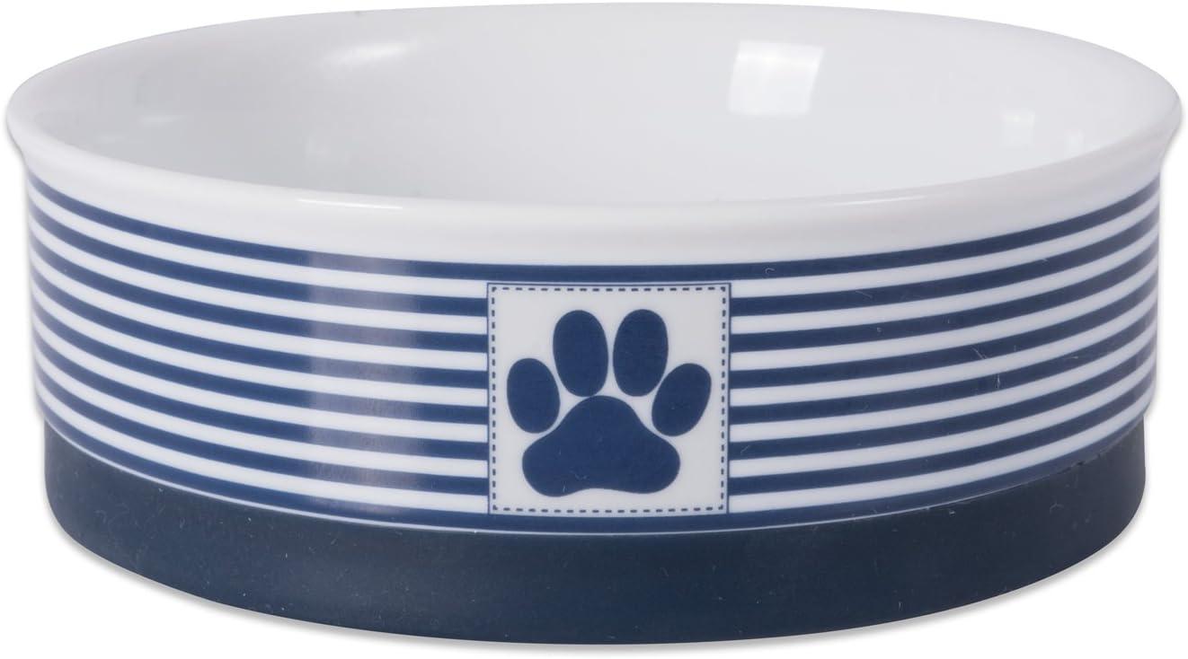 Bone Dry Paw Patch & Stripes Ceramic Pet Bowl & Canister Collection, Medium Bowl - 6 x 6 x 2