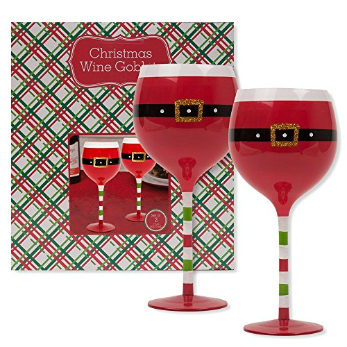 Christmas 16.9 oz Santa Belt Wine Glasses (Set of 2) (Santa Belt) For Sale