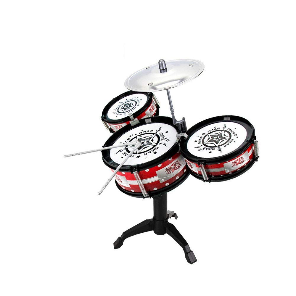 Bseka Kids Jazz Drum Set, 3 Piece Percussion Musical Instrument Children Musical Educational Development Creative Toys Kit with Cymbal & Drumsticks, for Beginner Learning (As Show) by Bseka