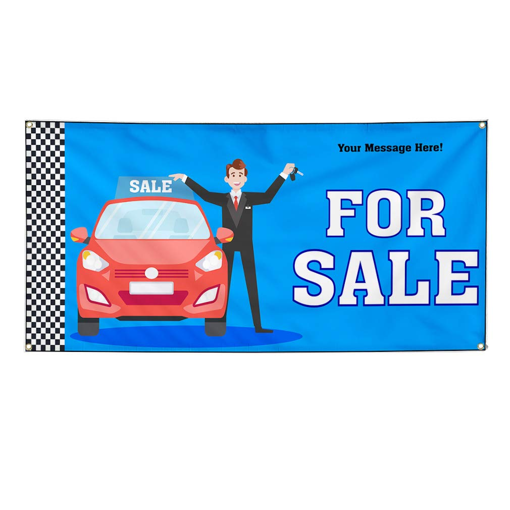 Custom Industrial Vinyl Banner Multiple Sizes for Sale Cars Personalized Text Automotive Outdoor Weatherproof Yard Signs Blue 8 Grommets 44x110Inches