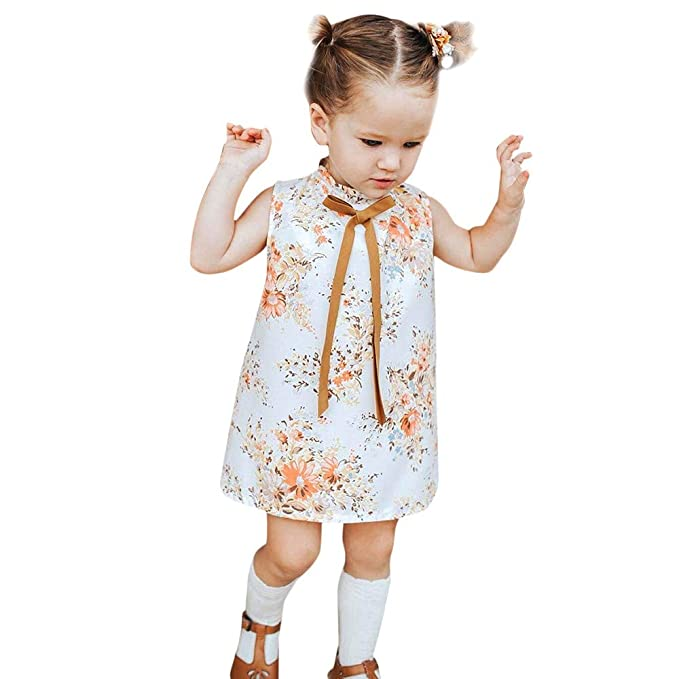 ALIKEEY Niño Niños Niñas Bebe Sin Mangas Lazo Estampado Floral Vestidos Vestidos De Fiesta