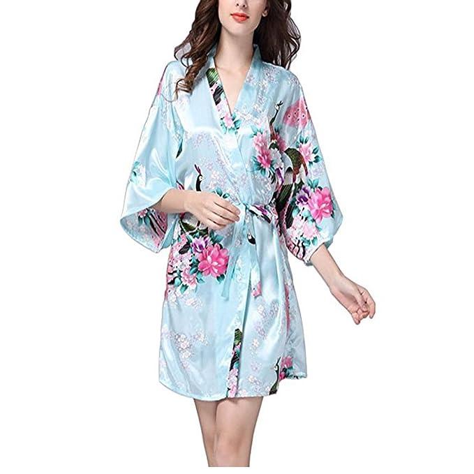 DOTBUY Vestido Pijama Mujer Kimono Corto Bata de Satén Kimono Satén Bata Albornoz Camisón