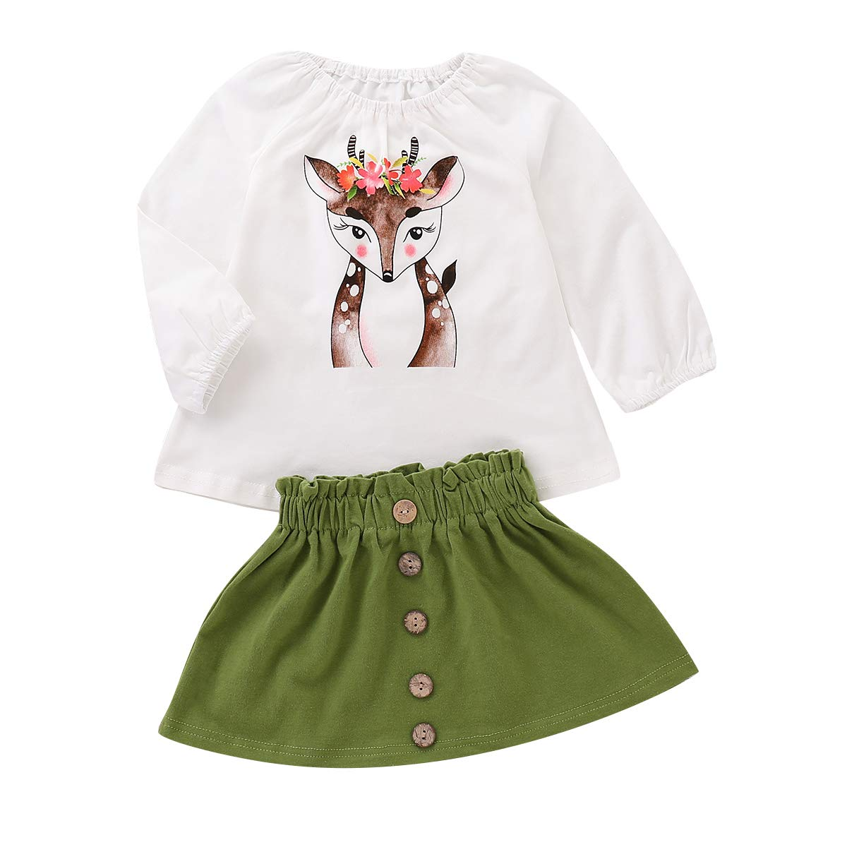 Treafor Toddler Girl Fall Winter Clothes | Deer Printed T-Shirt White Shirt Top Blouse + Button Skirt
