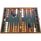 Zaza & Sacci Large Folding Wood Backgammon Board Set - Leather/Mahogany Case