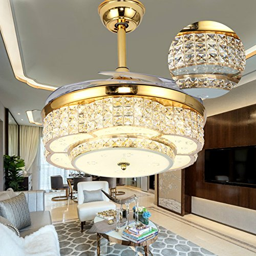 (Lighting Groups Crystal Ceiling Fans Lights 42 Inch Transparent Retractable Blades Remote Control Fans Chandelier with LED Three Color Lights Invisible Mute Electric Ceiling Fan Lamp (Gold))