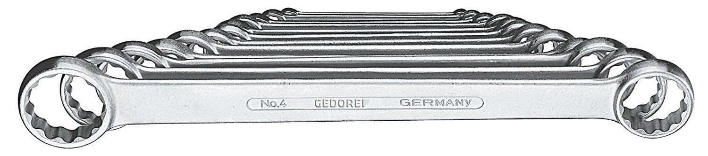 gerade GEDORE 4-12 Doppelringschl/üssel-Satz flach 6-32 mm Ausf/ührung nach DIN 837 verchromt mit UD-Profil 12-teilig Form B mit d/ünnwandigen Ringen