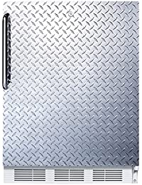 Summit FF7LDPLADA Refrigerator, Silver With Diamond Plate