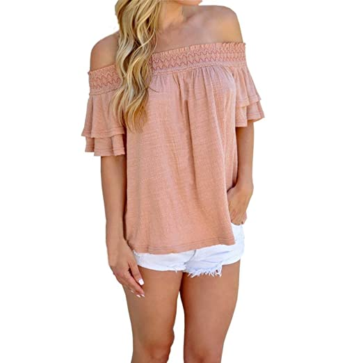 4f4465bbf6b Amazon.com: Clearance Women's Summer Off The Shoulder Blouse Sheer Solid  Short Sleeve Casual Tee Shirt Loose Tunic Tops: Clothing