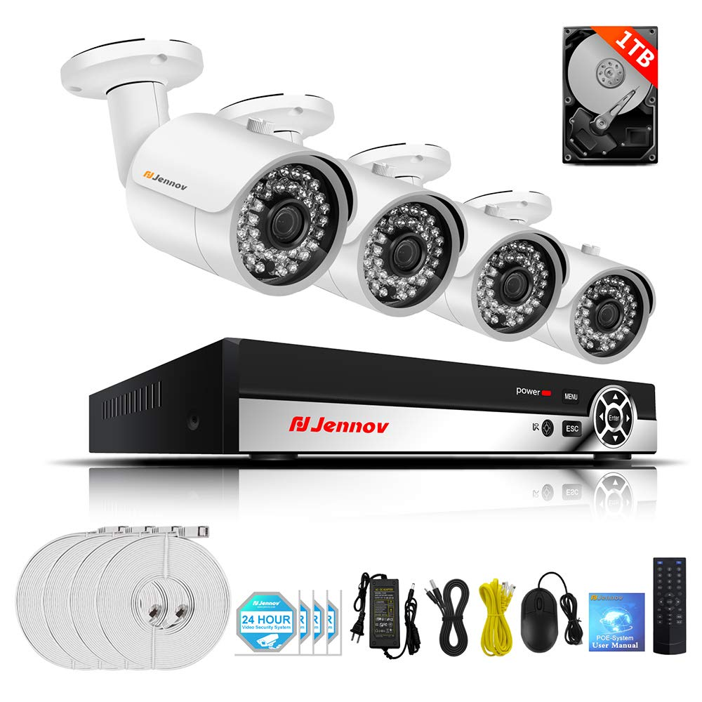Jennov Poe Security Camera System, 4 Channels 1080P IP Bulllet Camera and Nvr Kits Outdoor Home Surveillance CCTV Camera Motion IR-Cut Night Vision Remote View Pre-Installed 1TB Hard Drive