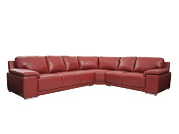 Ecksofa Sara In Rot Couchgarnitur Ledercouch Wohnlandschaft Amazon
