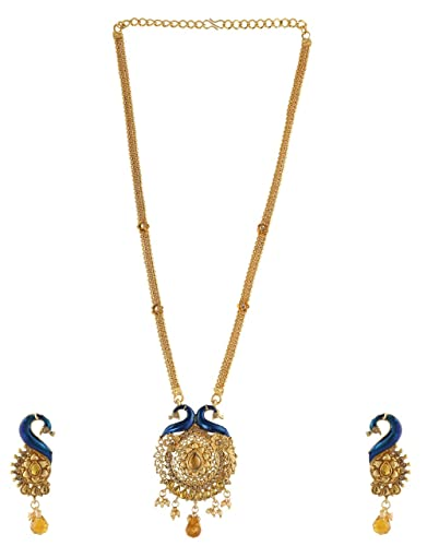 e16706471e Buy Anuradha Art Goldne Colour Peacock Styled Wonderful Blue Colour  Traditional Long Necklace Set For Women Online at Low Prices in India |  Amazon Jewellery ...