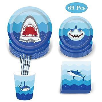 Amycute 69 pcs 8 niños Vajilla Diseño Tiburon Desechable ...