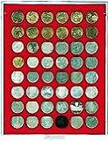 Lindner 2148 Münzenbox mit 48 quadratischen Vertiefungen für Münzen/Münzenkapseln mit Ø 30 mm-Grau / rote Einlage