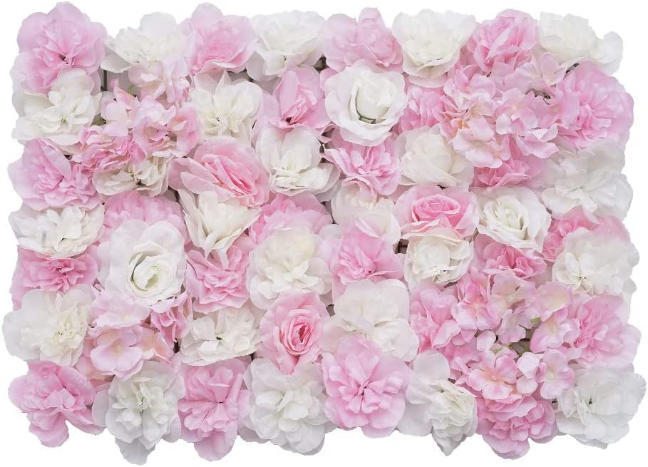 Shiwaki Flower Panels Artificial Flowers Wall Screen Romantic Floral Backdrop Hedge Home Decor Wedding Party Photo Background - Pink and White Rose