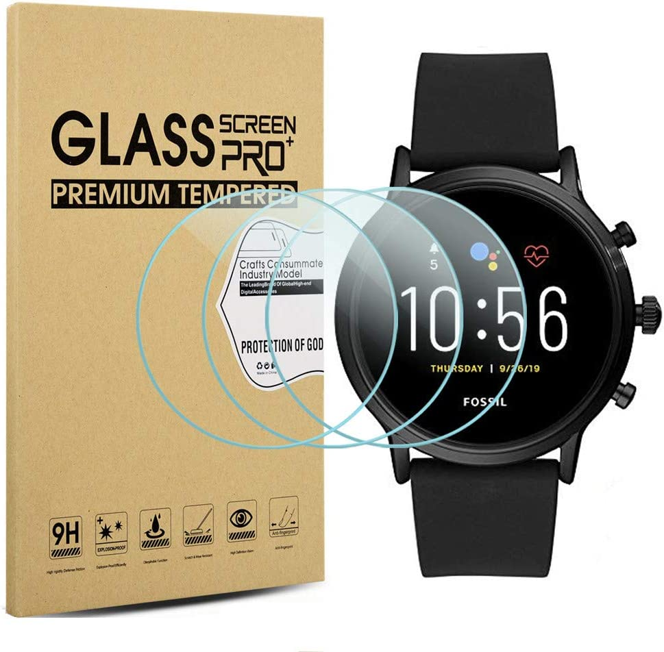 2.5D 9H Hardness Anti-Scratch Suoman 3-Pack for Fossil Gen 5 Carlyle HR Screen Protector Tempered Glass for Fossil Men Gen 5 Carlyle HR Smartwatch