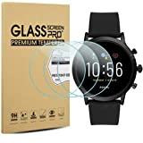 Suoman 3-Pack for Fossil Gen 5 Carlyle HR Screen Protector Tempered Glass for Fossil Men Gen 5 Carlyle HR Smartwatch [2.5D 9H