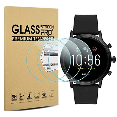 Suoman 3-Pack for Fossil Men Gen 5 Carlyle Screen Protector Tempered Glass for Fossil Men Gen 5 Smartwatch [2.5D 9H Hardness] [Anti-Scratch] ...