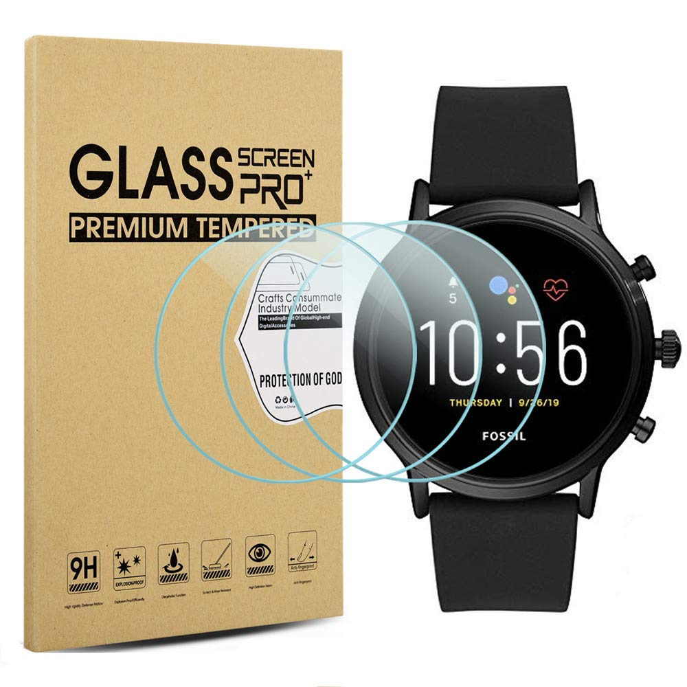 Suoman 3-Pack for Fossil Gen 5 Carlyle HR Screen Protector Tempered Glass for Fossil Men Gen 5 Carlyle HR Smartwatch [2.5D 9H Hardness] [Anti-Scratch]