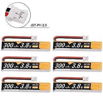 6pcs 300mah 1S HV 3.8V Lipo Batería 30C JST-PH 2.0 PowerWhoop ...