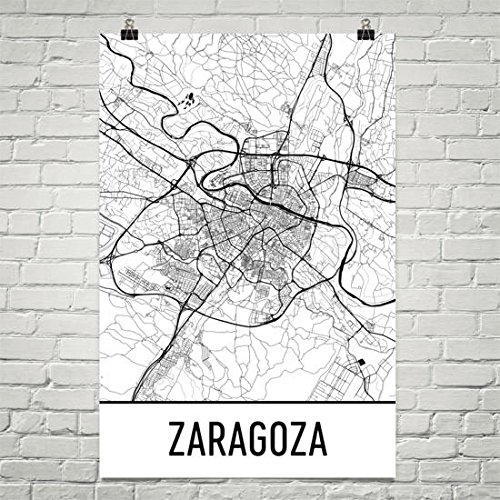 Modern Map Art Zaragoza Map, Zaragoza Art, Zaragoza Print, Zaragoza Spain Poster, Zaragoza Wall Art, Map of Spain, Spanish Gifts, Spanish Decor, Spain Map Poster 12''x18'' by Modern Map Art