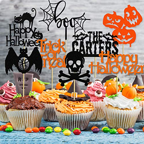 Halloween Cake Toppers Ghost Bat Pumpkin Cupcake Topper Halloween Cake Topper Decoration Supplies 24pc