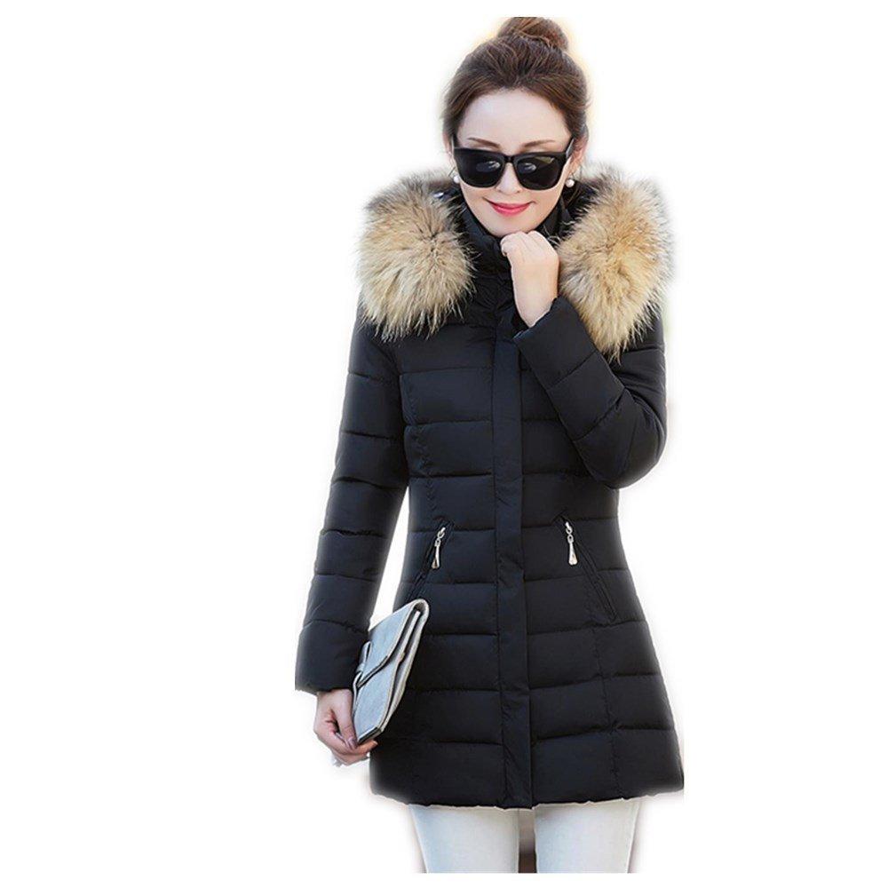 Black qfNZqT Womens Slim White Duck Down Hooded Fur Collar Pockets Warm Overcoat